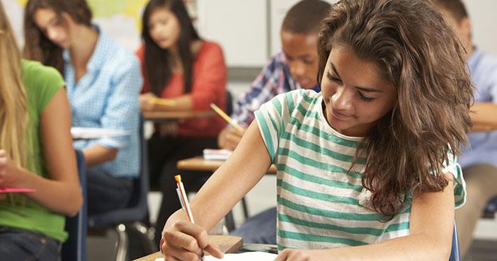 high school students in classroom